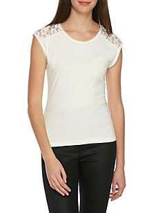 Sleeveless Knit Top with Lace