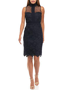 Mock Neck Lace  Sheath Dress
