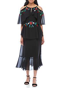 Flutter Sleeve Cold Shoulder Embroidered Dress