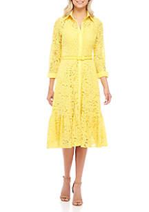 Three-Quarter Sleeve Lace Shirt Dress