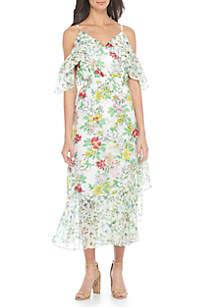 Cold Shoulder Mixed Print Wrap Dress