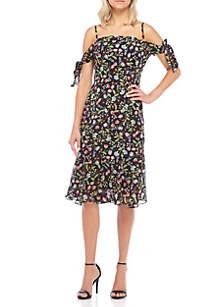 Cold Shoulder Print Chiffon Dress