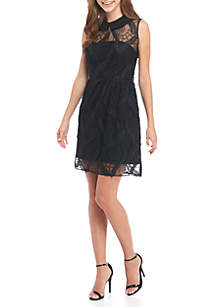 Sleeveless Embroidered Mesh Fit-And-Flare Crepe Dress