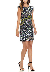 Cap Sleeve Printed Stretch Crepe Dress with Bow Back