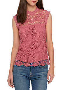 High Neck Fancy Lace Sleeveless Top