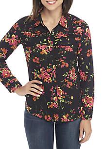 Long Sleeve Floral Pintuck Blouse