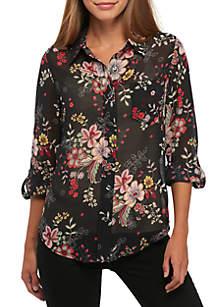 Button-Down Floral Blouse