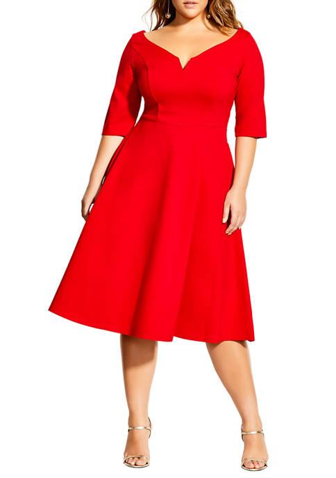Plus Size Elbow Sleeve Cute Girl Dress