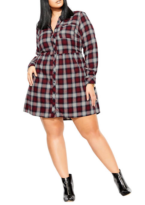 City Chic Plus Size Long Sleeve Checked Dress