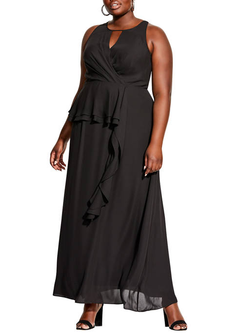City Chic Plus Size Maxi Cascade Skirt Dress