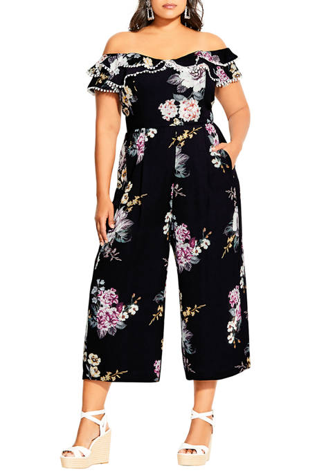 City Chic Plus Size Love Blooms Jumpsuit