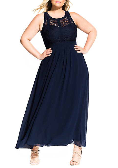 Plus Size Maxi Paneled Bodice Dress