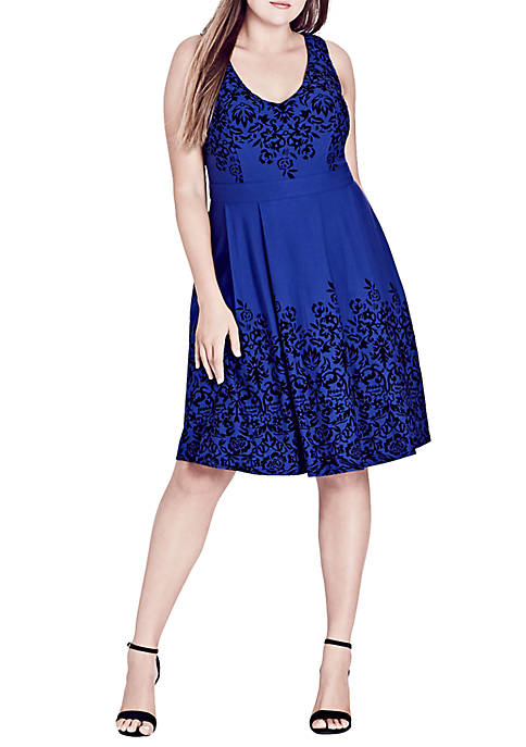 City Chic Plus Size Border Flock Dress