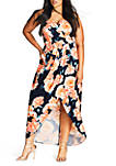 Plus Size Tulip Time Printed Faux Wrap Maxi Dress