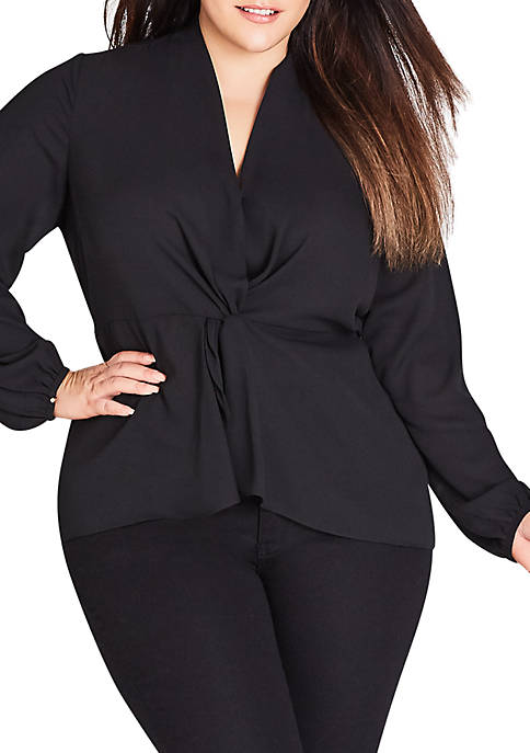 City Chic Plus Size Knot Front Top