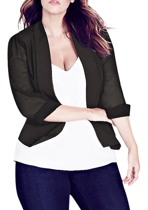 City Chic Plus Size Black Drapey Blazer Jacket