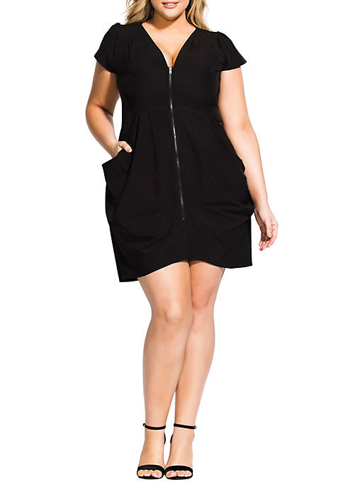 City Chic Plus Size Black Zip Front Pleat