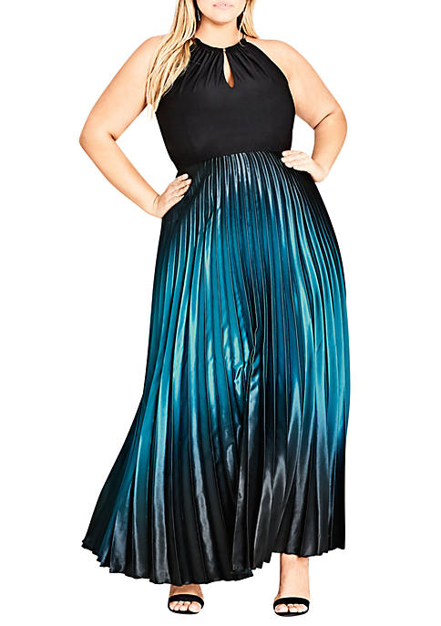 City Chic Plus Size Pleated Ombré Maxi Dress