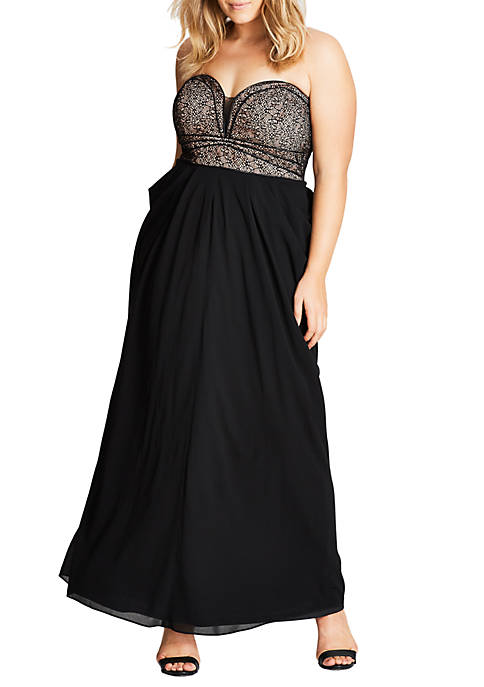 City Chic Plus Size Motown Draped Chiffon Maxi