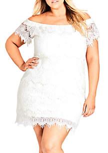 City Chic Plus Size Lace Off Shoulder Dress