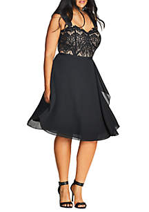 City Chic Plus Size Black Eyelash Evie Fit and Flare Dress