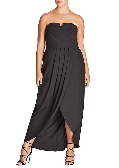 City Chic Plus Size Romantic Drape Maxi Dress