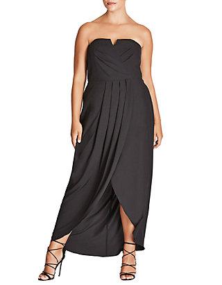 Plus Size Romantic Drape Maxi Dress