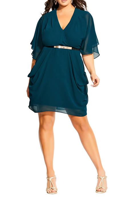 City Chic Plus Size Colour Wrap Dress