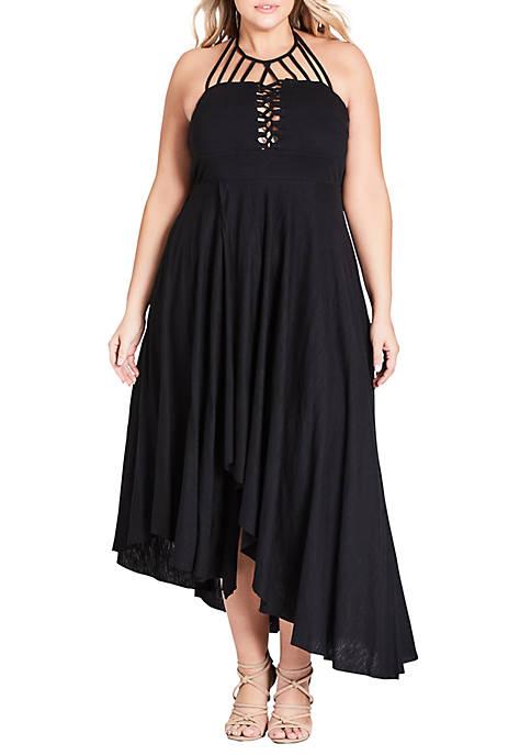 City Chic Plus Size Maxi Plait Detail Dress
