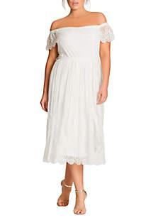 City Chic Plus Size Vine Detail Dress