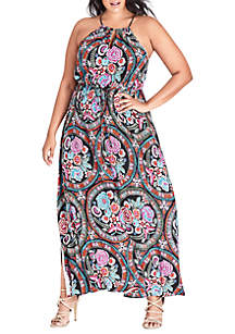 0ff3ef812b0 Connected Apparel Plus Size Floral Tiered Bodre Dress · City Chic Plus Size  Maxi Folklore