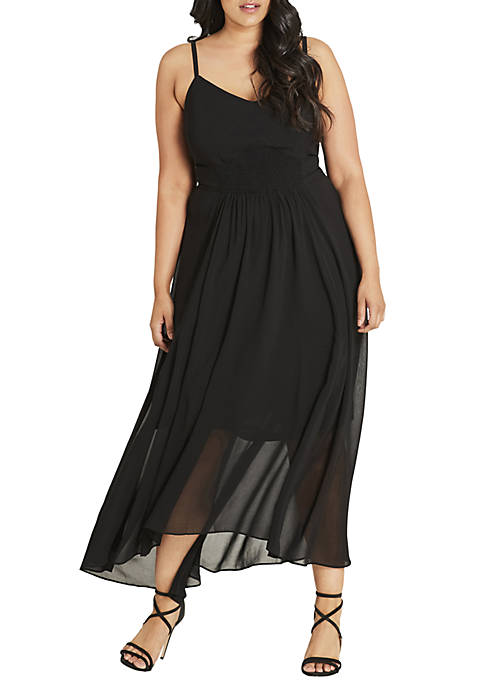 City Chic Plus Size Maxi Shirred Waist Dress
