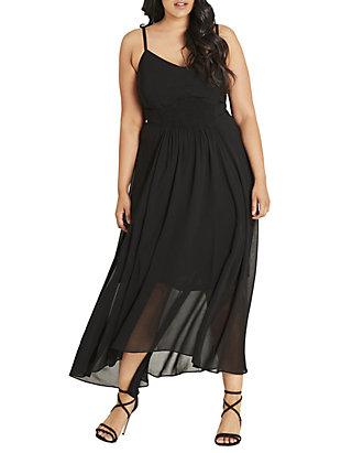 Plus Size Maxi Shirred Waist Dress