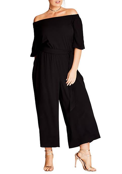 City Chic Plus Size Off the Shoulder Jumpsuit