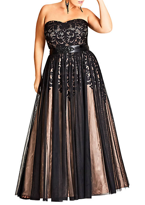 City Chic Plus Size Maxi Embellished Tulle Dress