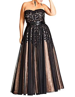 Plus Size Maxi Embellished Tulle Dress