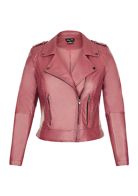 City Chic Plus Size Biker Whip Stitch Jacket