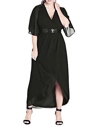 Plus Size Sequin Wrap Maxi Dress