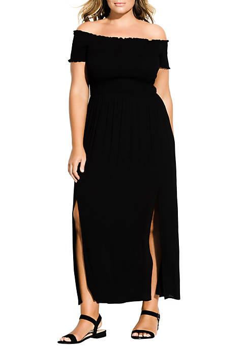 Plus Size Smock Off the Shoulder Maxi Dress