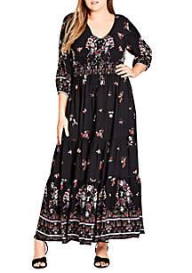 City Chic Plus Size Peacock Love Maxi Dress