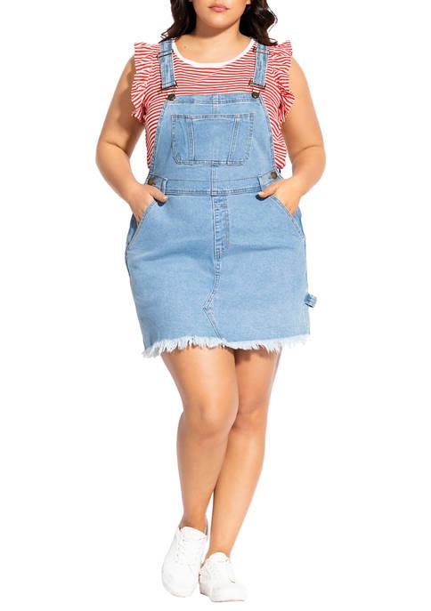 City Chic Plus Size Denim Bib Dress