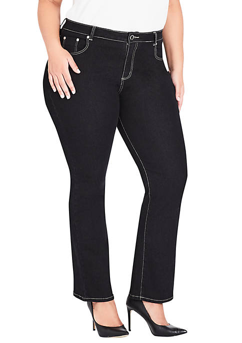 City Chic Plus Size Bootleg Skinny Black Jeans