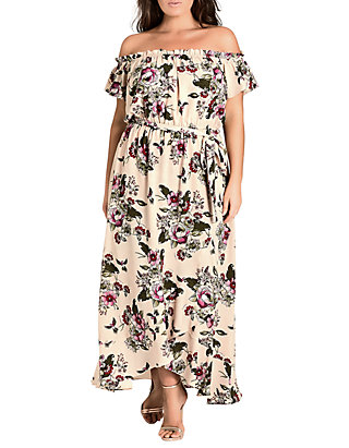 City Chic Plus Size Off The Shoulder Lolita Maxi Dress | belk