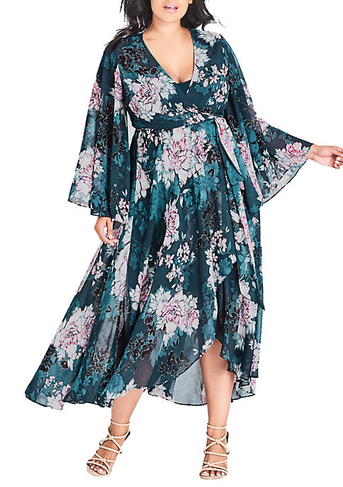 Plus Size Jade Blossom Maxi Dress
