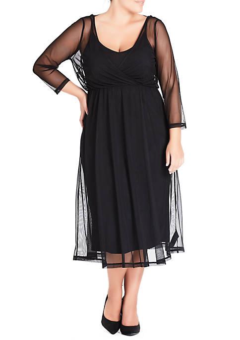 Plus Size Mesh Bow Dress