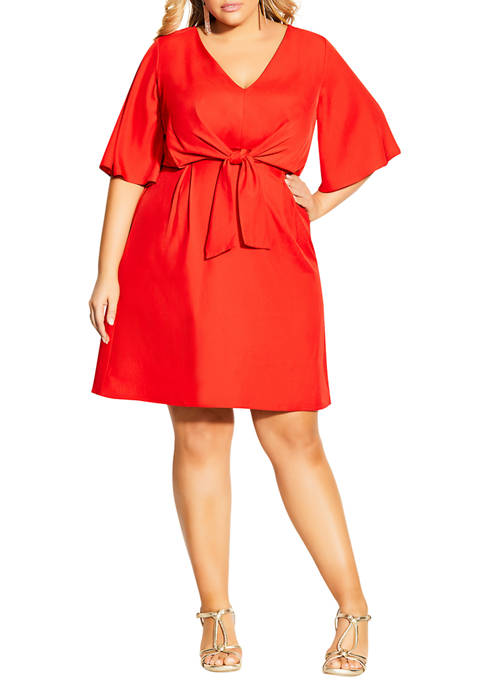 City Chic Plus Size Knot Front Dress