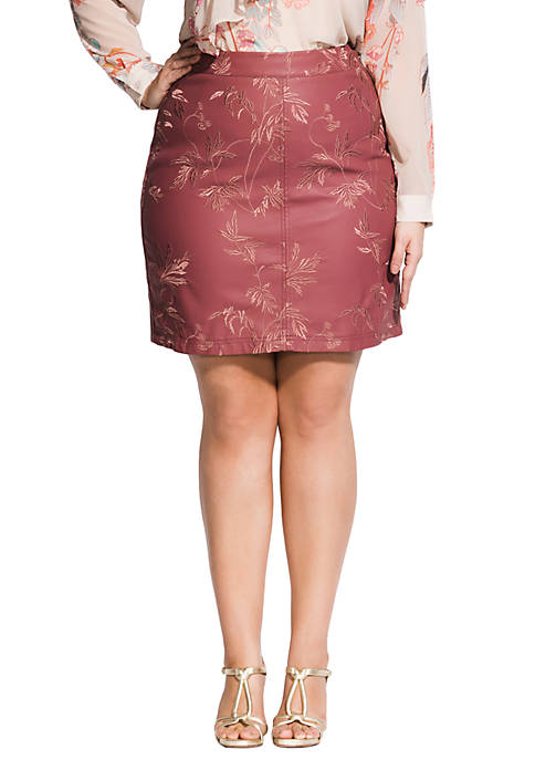 City Chic Plus Size Sweetly Embroidered Skirt