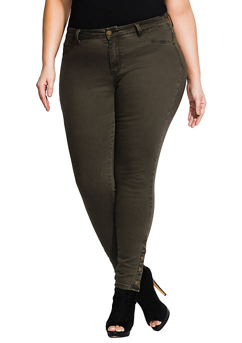 Plus Size Button Me Up Skinny Jeans