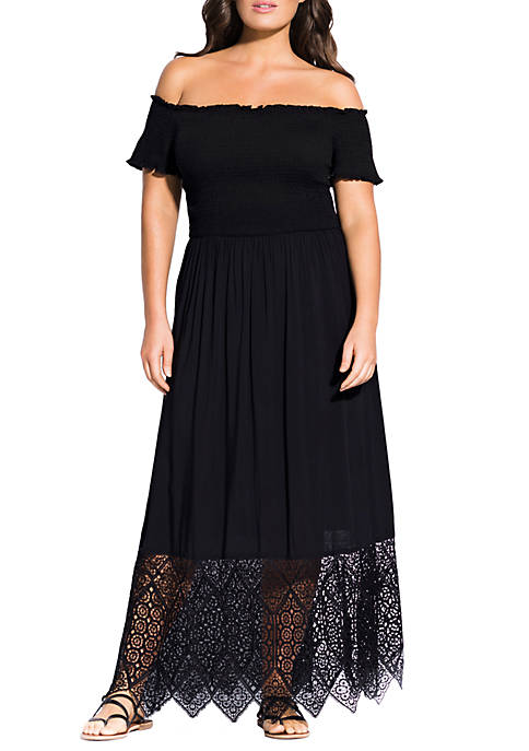 Plus Size Embroidered Hem Maxi Dress