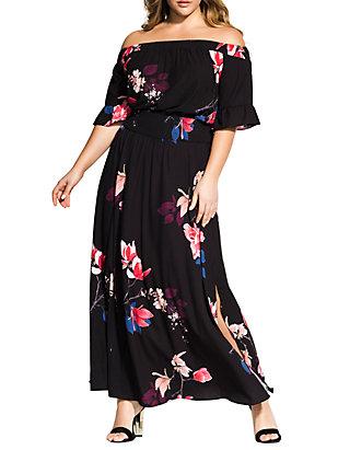 City Chic Plus Size Spring Lotus Maxi Dress